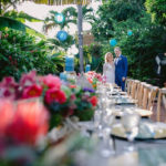 wedding couple and tables