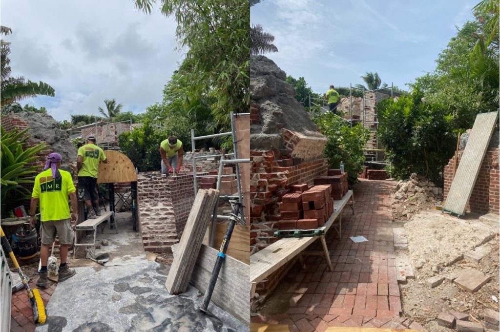 brick arch is being restored